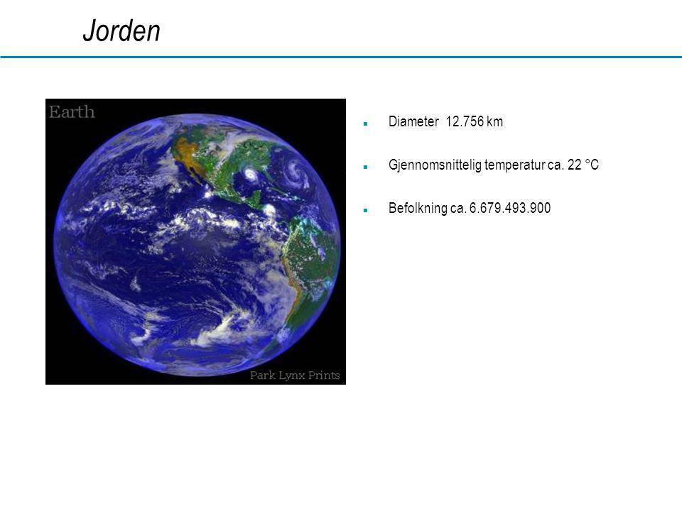 Jorden Diameter 12.756 km Gjennomsnittelig temperatur ca. 22 °C