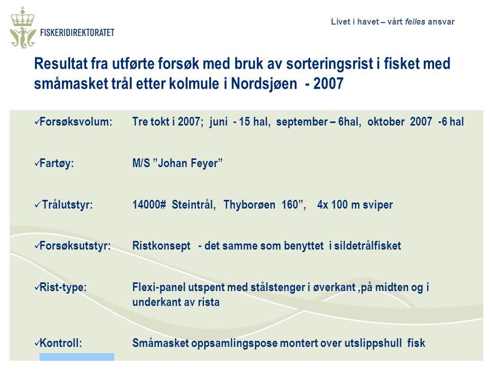 Resultat fra utførte forsøk med bruk av sorteringsrist i fisket med småmasket trål etter kolmule i Nordsjøen - 2007