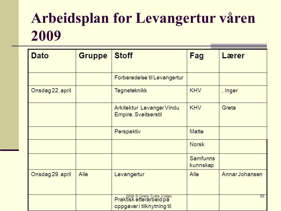 Arbeidsplan for Levangertur våren 2009