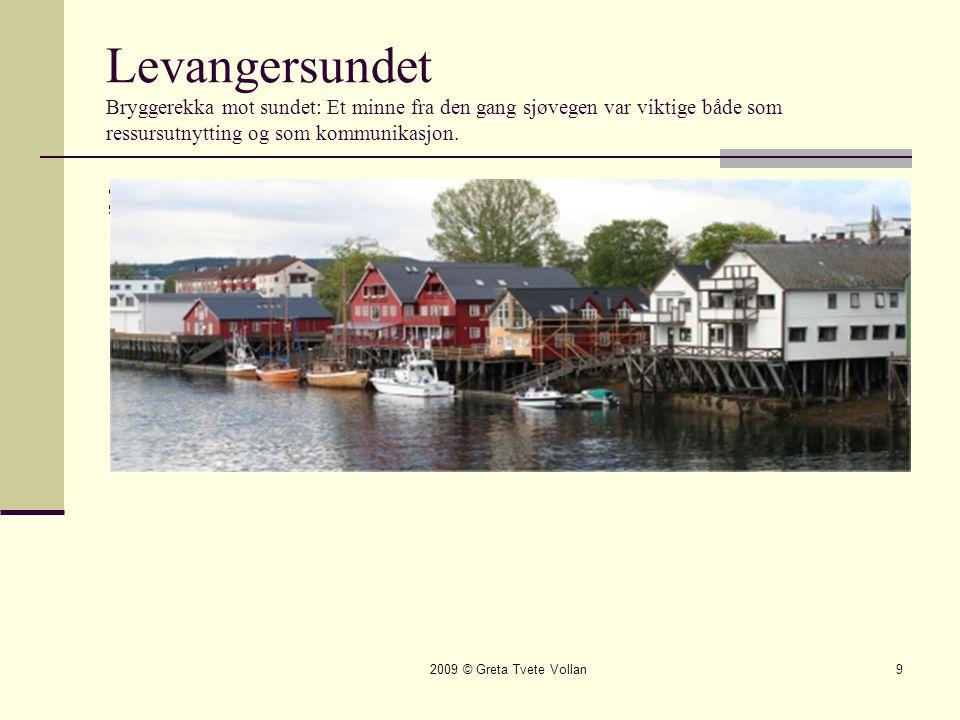 Levangersundet Bryggerekka mot sundet: Et minne fra den gang sjøvegen var viktige både som ressursutnytting og som kommunikasjon.