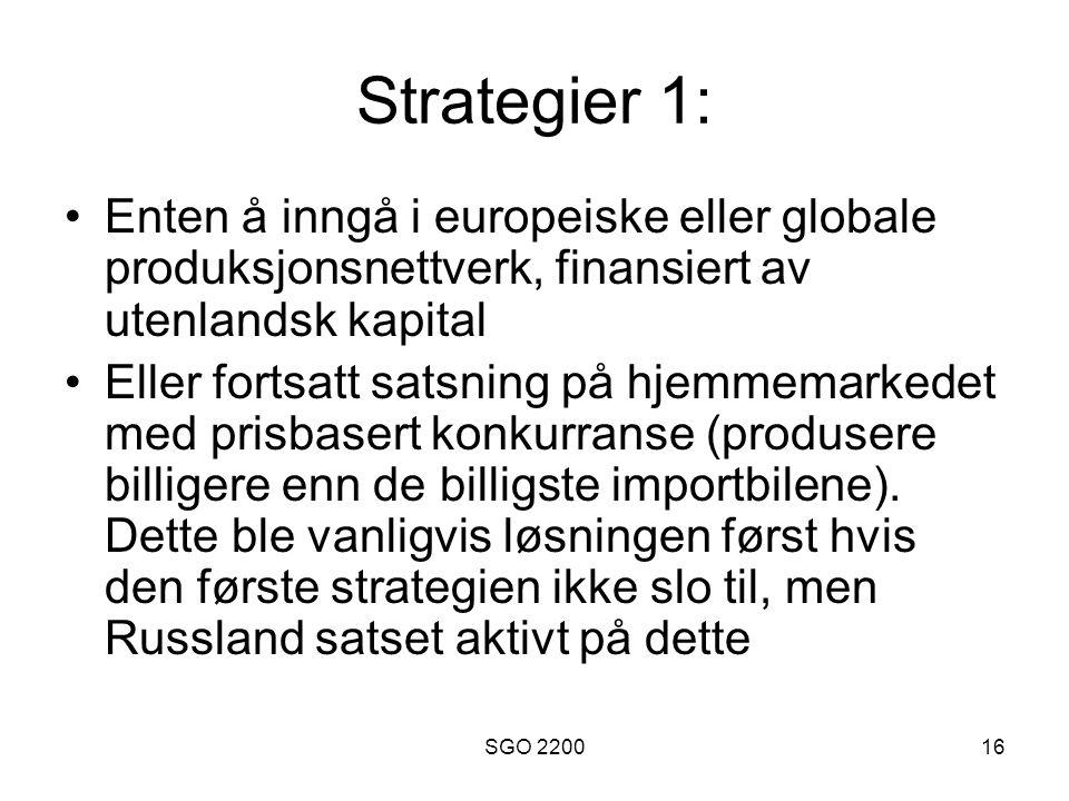 Strategier 1: Enten å inngå i europeiske eller globale produksjonsnettverk, finansiert av utenlandsk kapital.