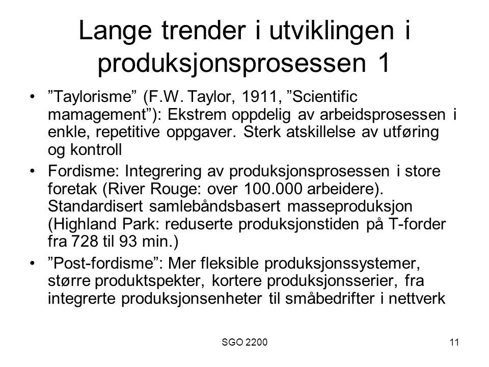 Lange trender i utviklingen i produksjonsprosessen 1