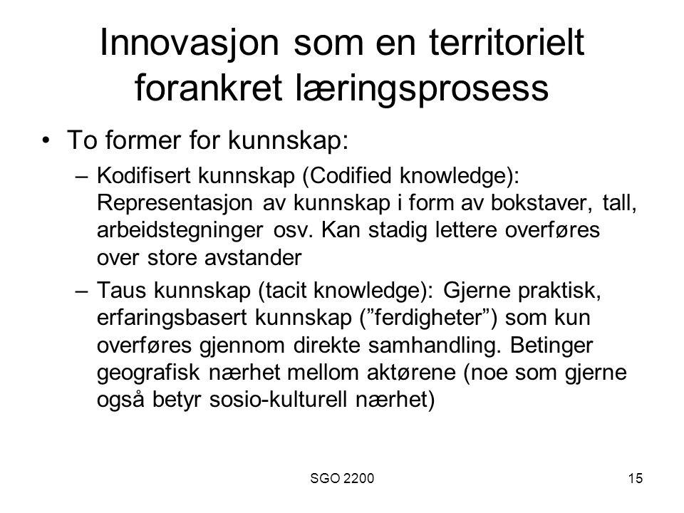 Innovasjon som en territorielt forankret læringsprosess
