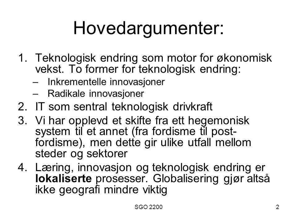 Hovedargumenter: Teknologisk endring som motor for økonomisk vekst. To former for teknologisk endring: