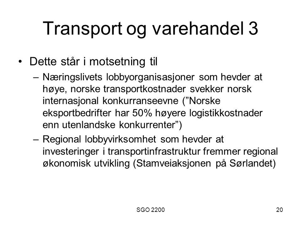 Transport og varehandel 3