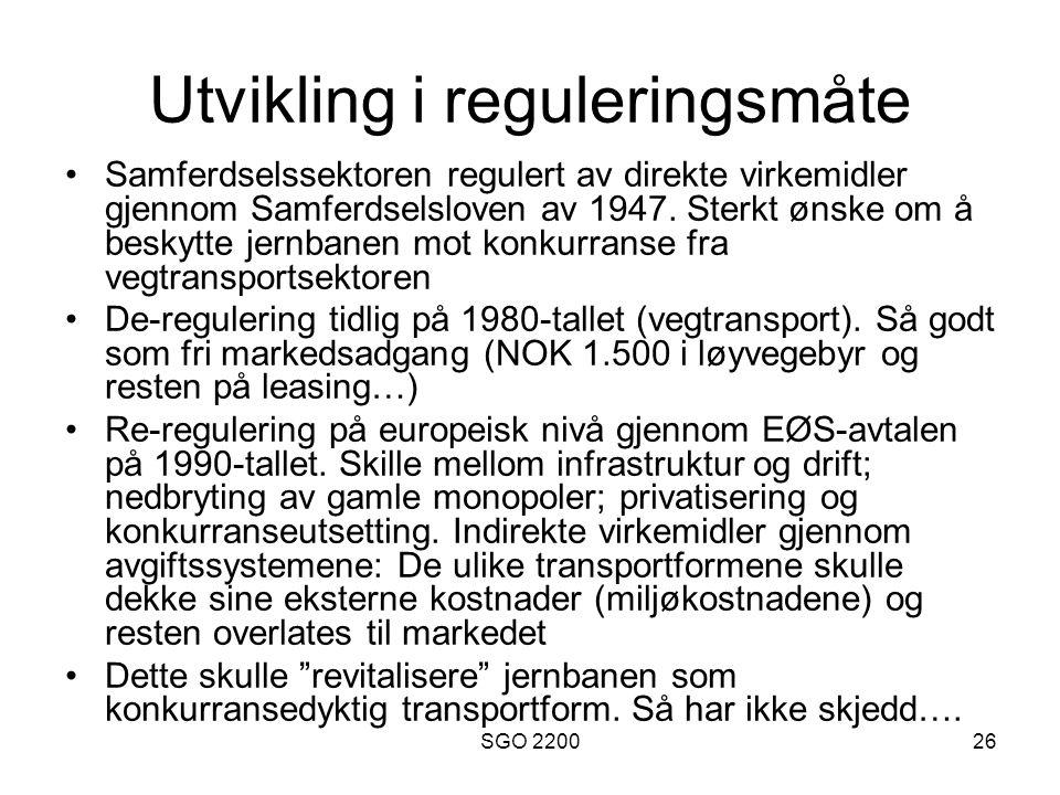 Utvikling i reguleringsmåte