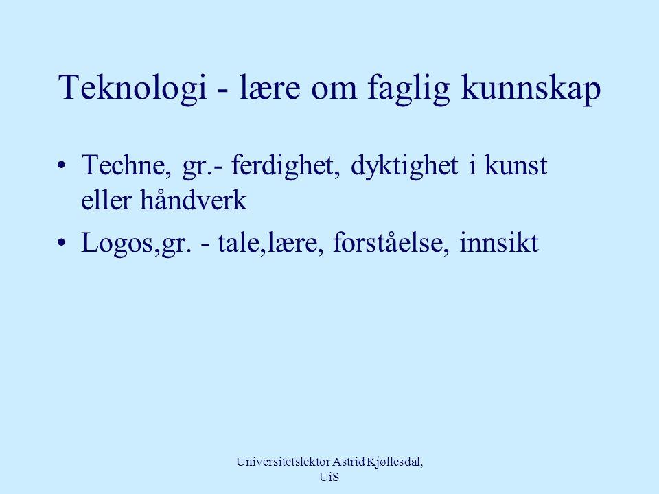 Teknologi - lære om faglig kunnskap