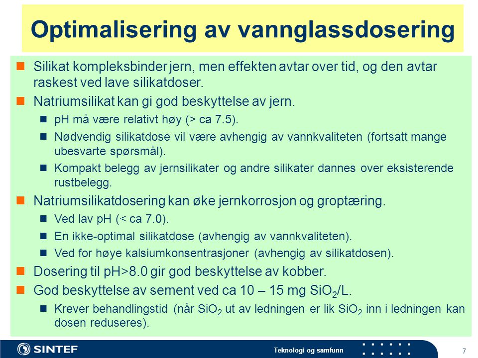 Optimalisering av vannglassdosering