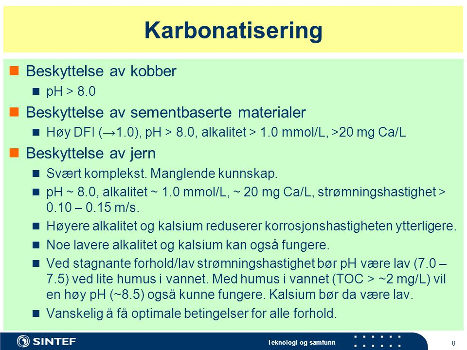 Karbonatisering Beskyttelse av kobber