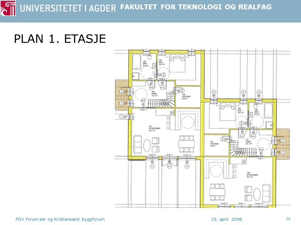 PLAN 1. ETASJE FDV forum sør og Kristiansand byggforum 15. april 2008