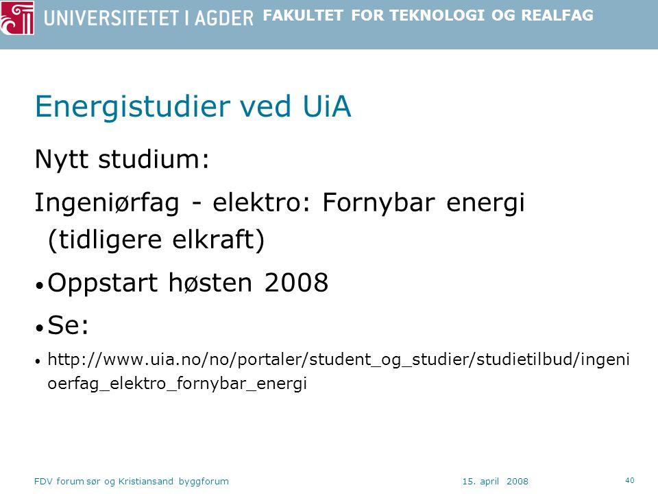 Energistudier ved UiA Nytt studium: