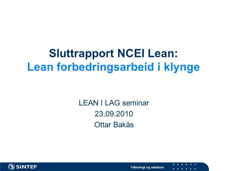 Sluttrapport NCEI Lean: Lean forbedringsarbeid i klynge