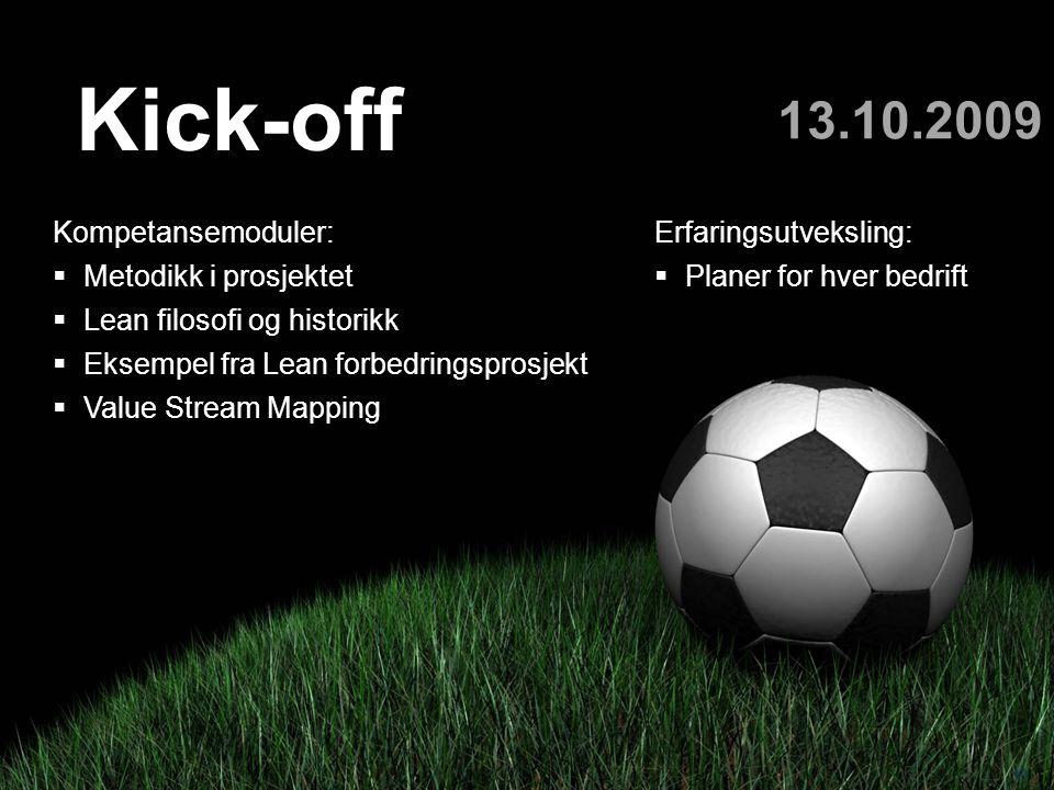 Kick-off 13.10.2009 Kompetansemoduler: Metodikk i prosjektet