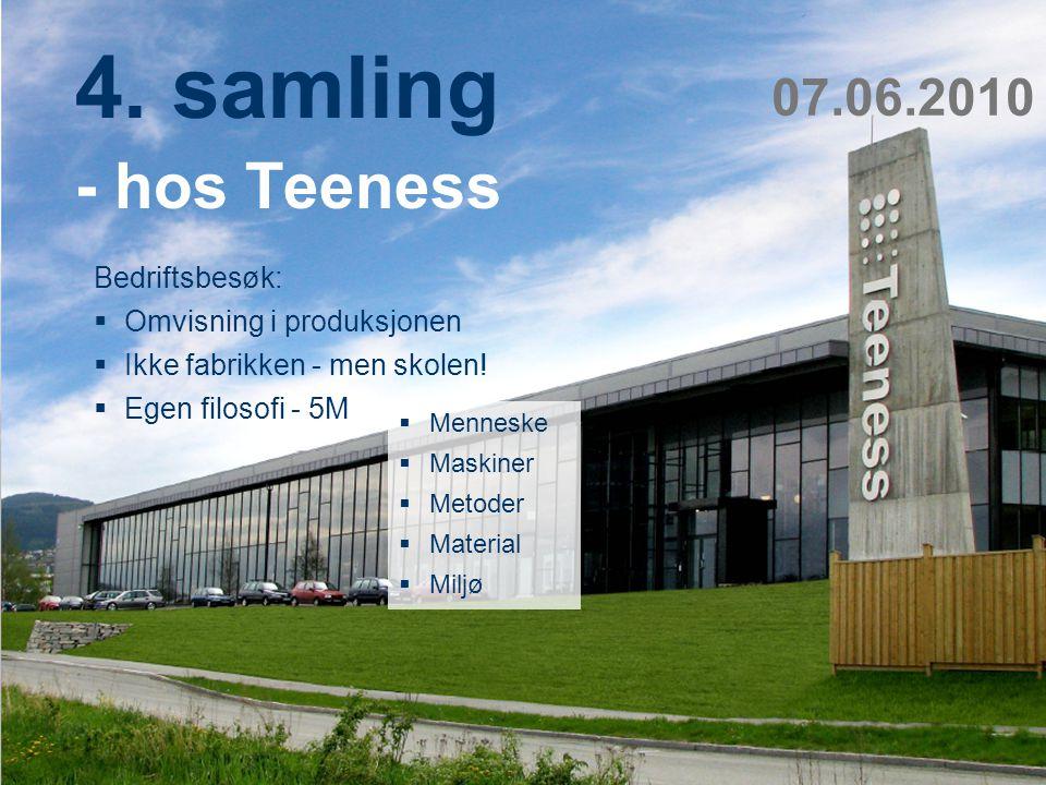 4. samling - hos Teeness 07.06.2010 Bedriftsbesøk: