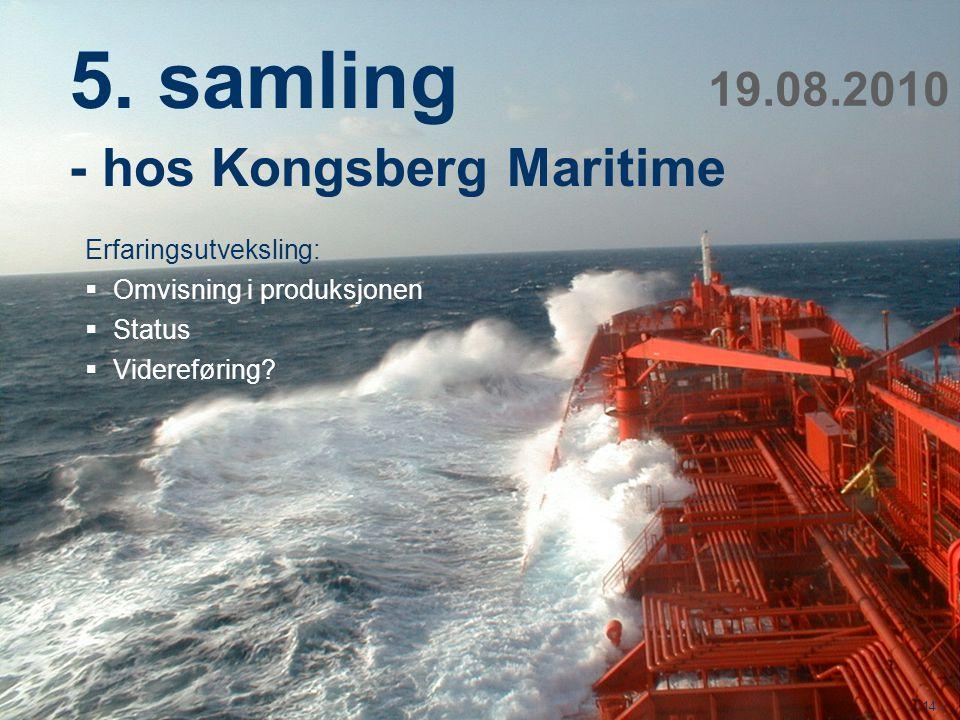 5. samling - hos Kongsberg Maritime 19.08.2010 Erfaringsutveksling: