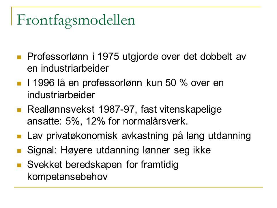Frontfagsmodellen Professorlønn i 1975 utgjorde over det dobbelt av en industriarbeider.