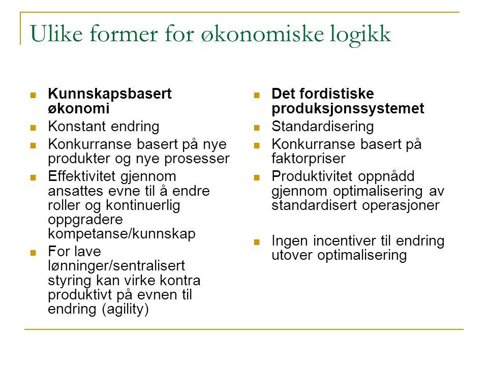 Ulike former for økonomiske logikk