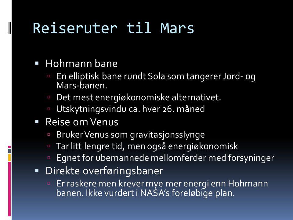 Reiseruter til Mars Hohmann bane Reise om Venus