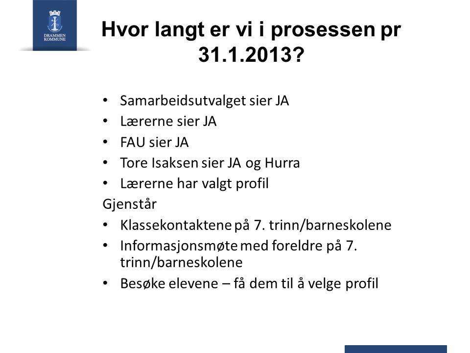 Hvor langt er vi i prosessen pr 31.1.2013