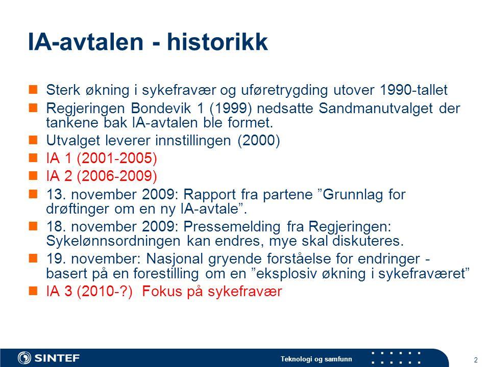 IA-avtalen - historikk