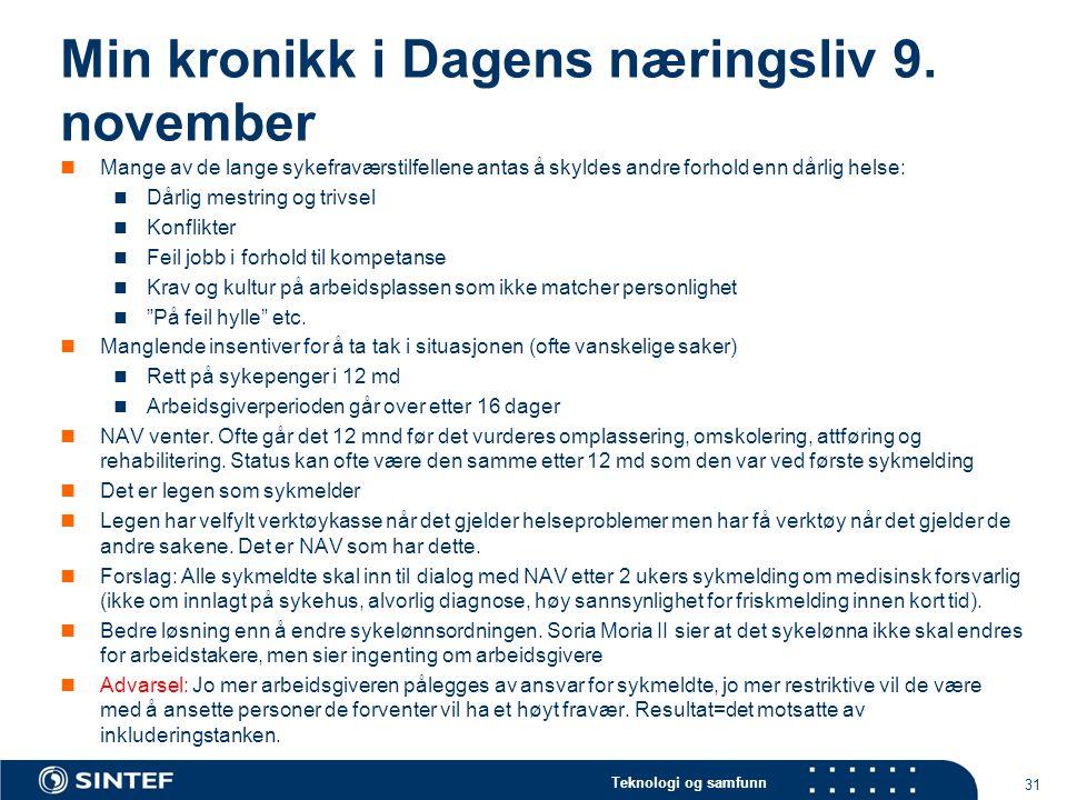 Min kronikk i Dagens næringsliv 9. november