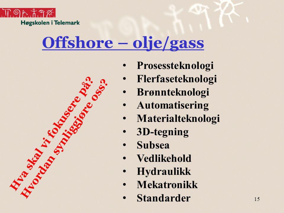 Offshore – olje/gass Prosessteknologi Flerfaseteknologi Brønnteknologi