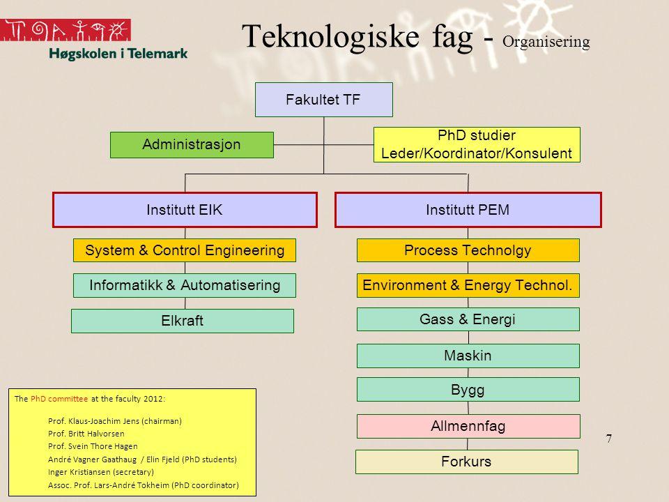 Teknologiske fag - Organisering