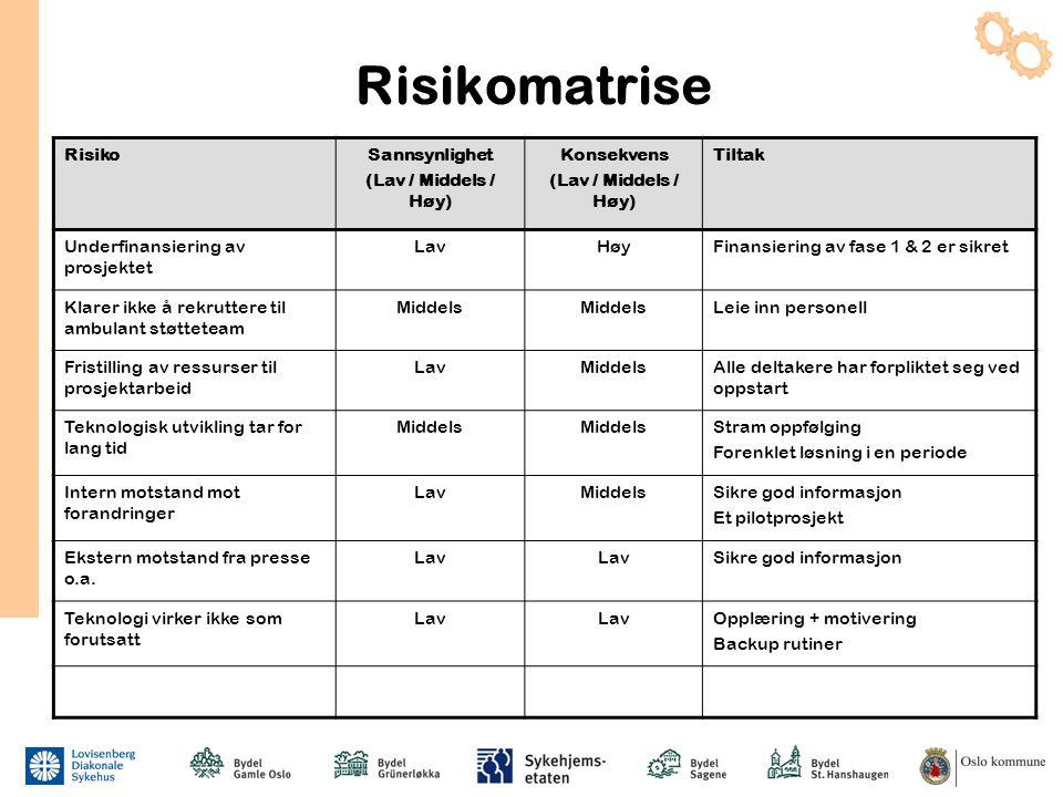 Risikomatrise Risiko Sannsynlighet (Lav / Middels / Høy) Konsekvens