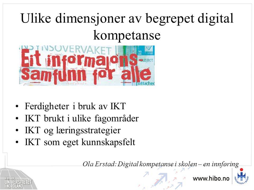 Ulike dimensjoner av begrepet digital kompetanse