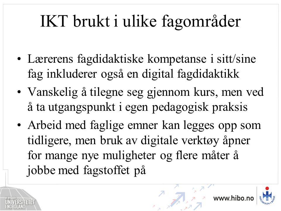 IKT brukt i ulike fagområder