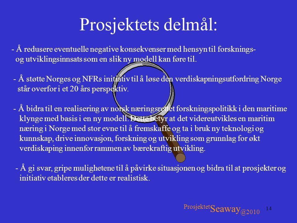 Prosjektets delmål: ProsjektetSeaway@2010