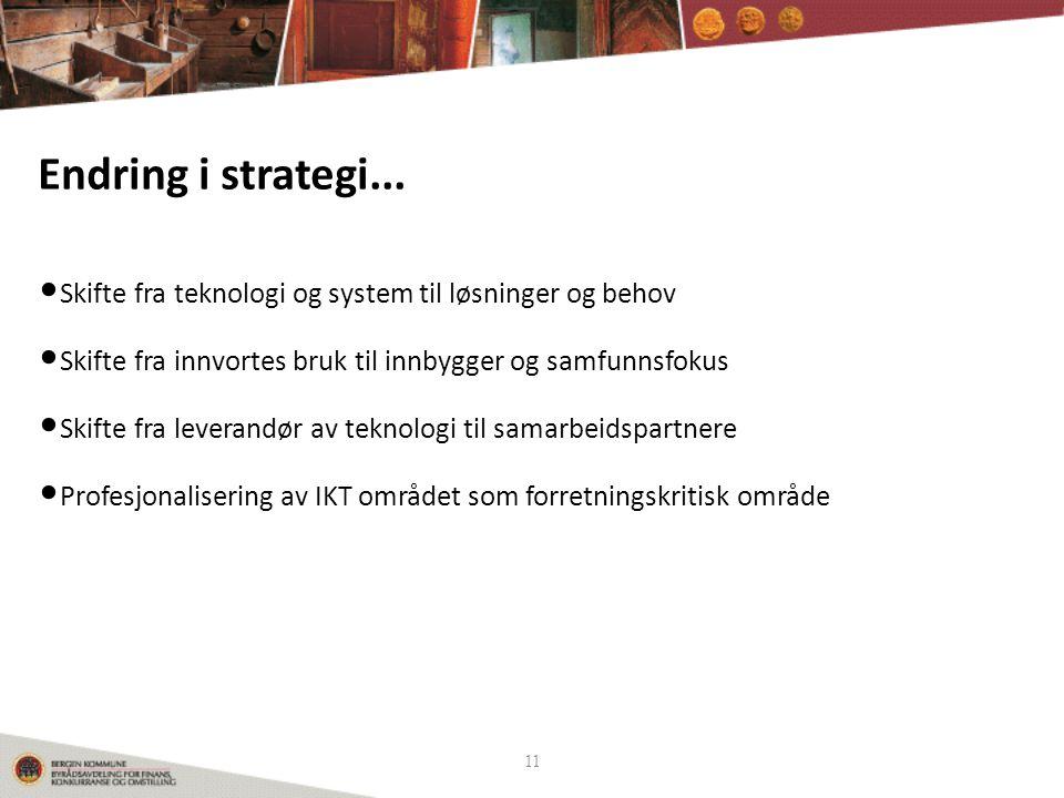 Endring i strategi... Skifte fra teknologi og system til løsninger og behov. Skifte fra innvortes bruk til innbygger og samfunnsfokus.