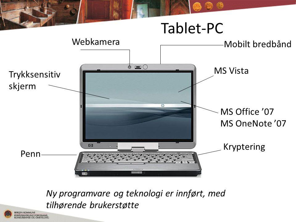 Tablet-PC Webkamera Mobilt bredbånd MS Vista Trykksensitiv skjerm