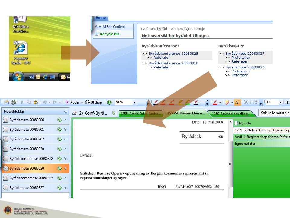 Steg 1: Klikk på ikonet for papirløst byråd (lenke til individuell Sharepointsite)