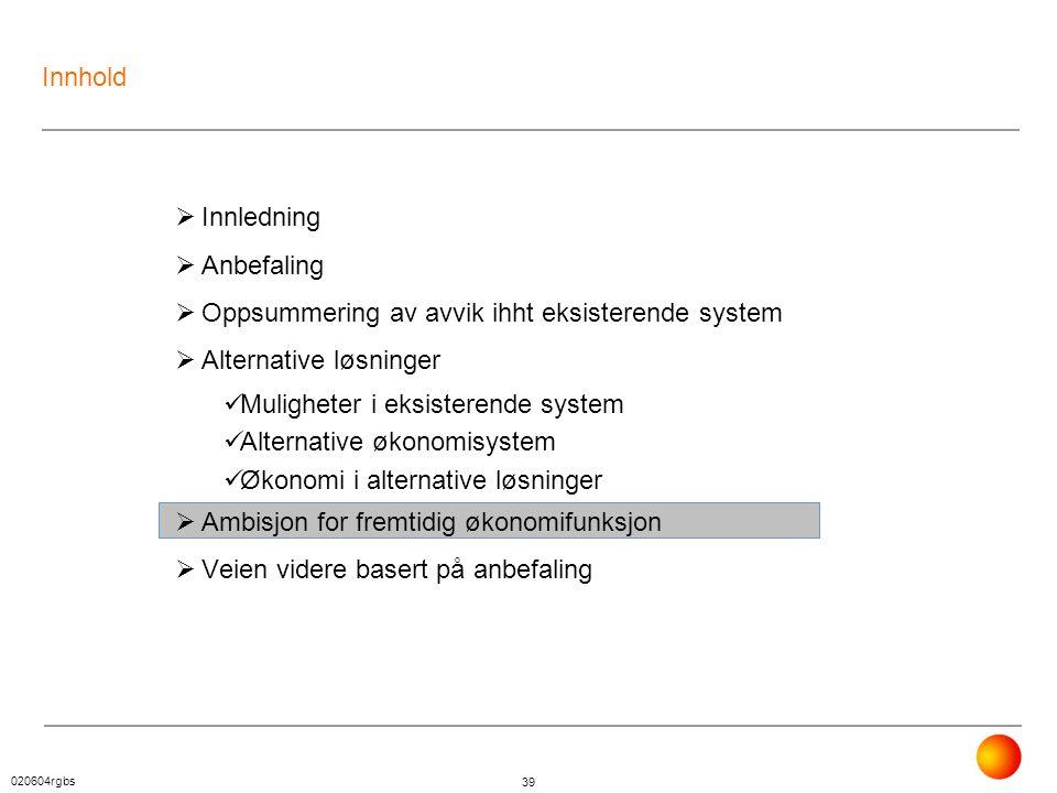 Innhold Innledning. Anbefaling. Oppsummering av avvik ihht eksisterende system. Alternative løsninger.