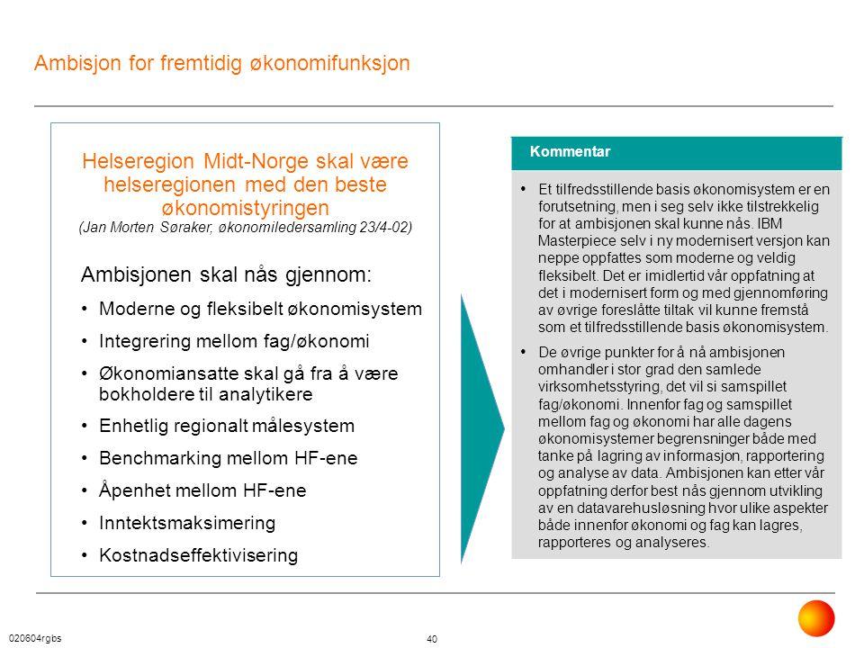Ambisjon for fremtidig økonomifunksjon
