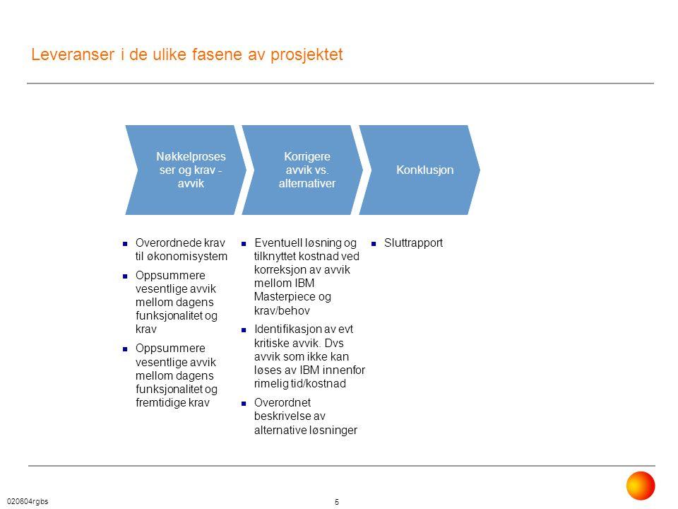 Leveranser i de ulike fasene av prosjektet