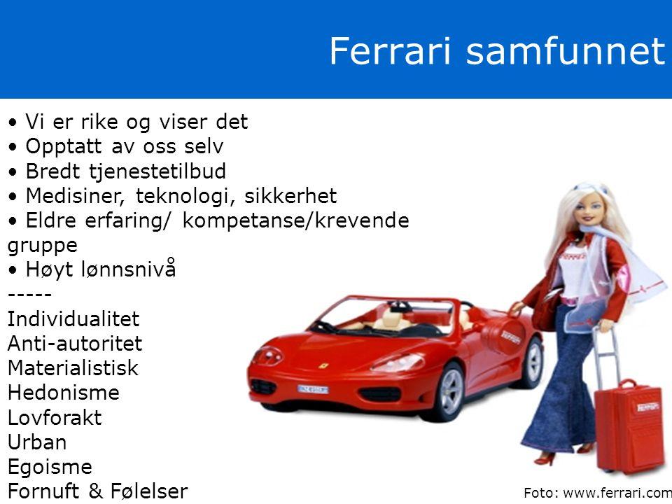 Ferrari samfunnet Vi er rike og viser det Opptatt av oss selv
