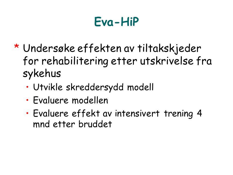 Eva-HiP Undersøke effekten av tiltakskjeder for rehabilitering etter utskrivelse fra sykehus. Utvikle skreddersydd modell.