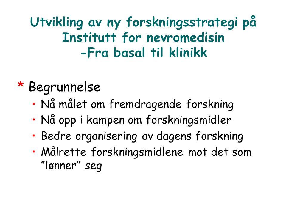 Utvikling av ny forskningsstrategi på Institutt for nevromedisin -Fra basal til klinikk