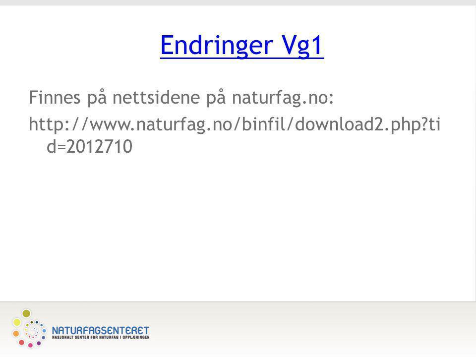 Endringer Vg1 Finnes på nettsidene på naturfag.no: http://www.naturfag.no/binfil/download2.php tid=2012710