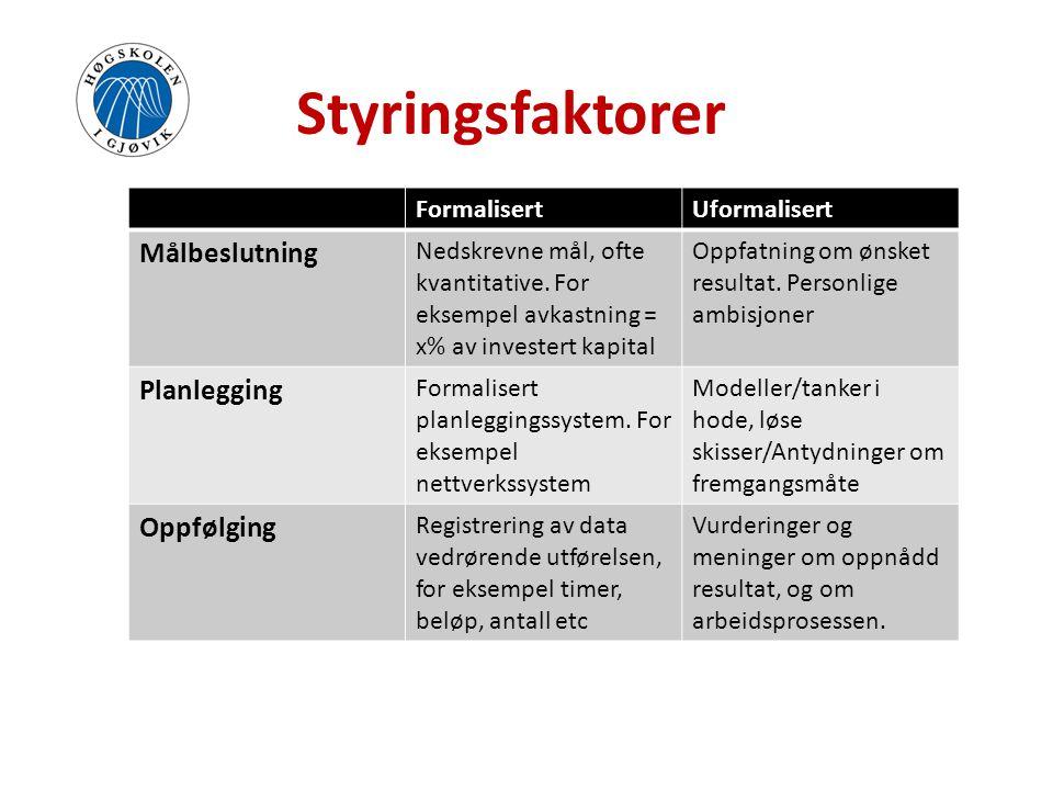 Styringsfaktorer Målbeslutning Planlegging Oppfølging Formalisert