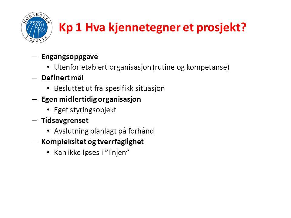 Kp 1 Hva kjennetegner et prosjekt