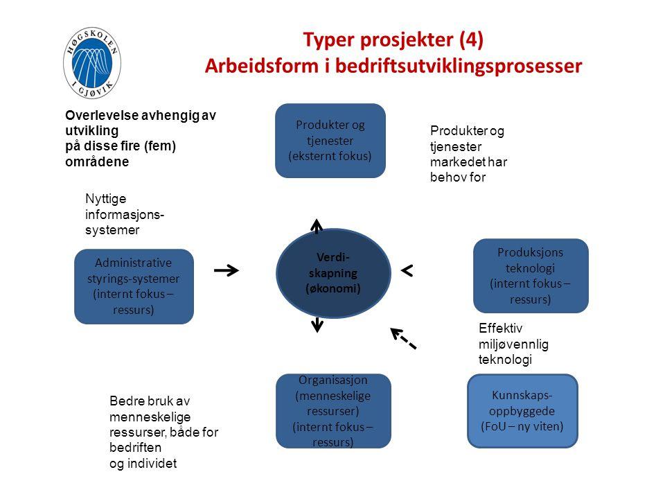 Typer prosjekter (4) Arbeidsform i bedriftsutviklingsprosesser