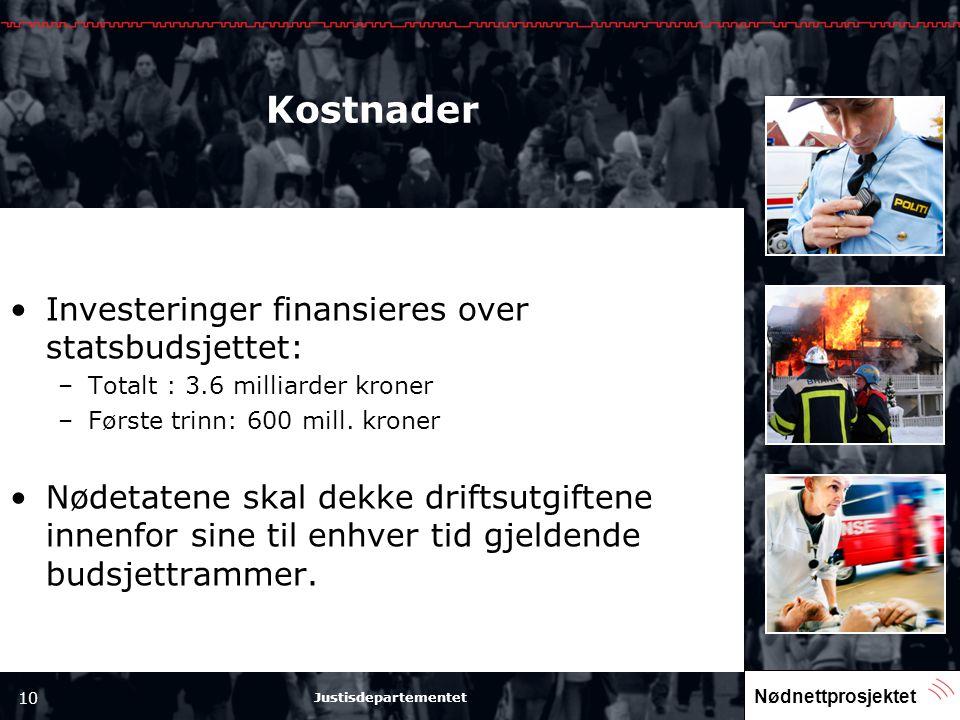 Kostnader Investeringer finansieres over statsbudsjettet: