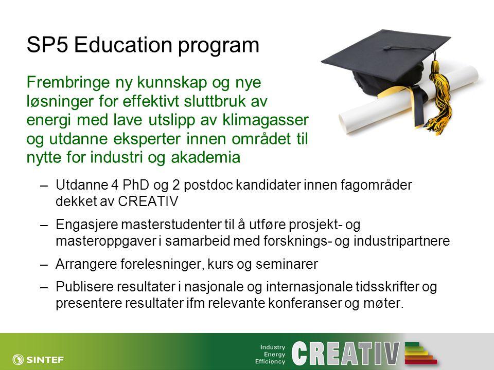 SP5 Education program Frembringe ny kunnskap og nye løsninger for effektivt sluttbruk av energi med lave utslipp av klimagasser og utdanne eksperter innen området til nytte for industri og akademia