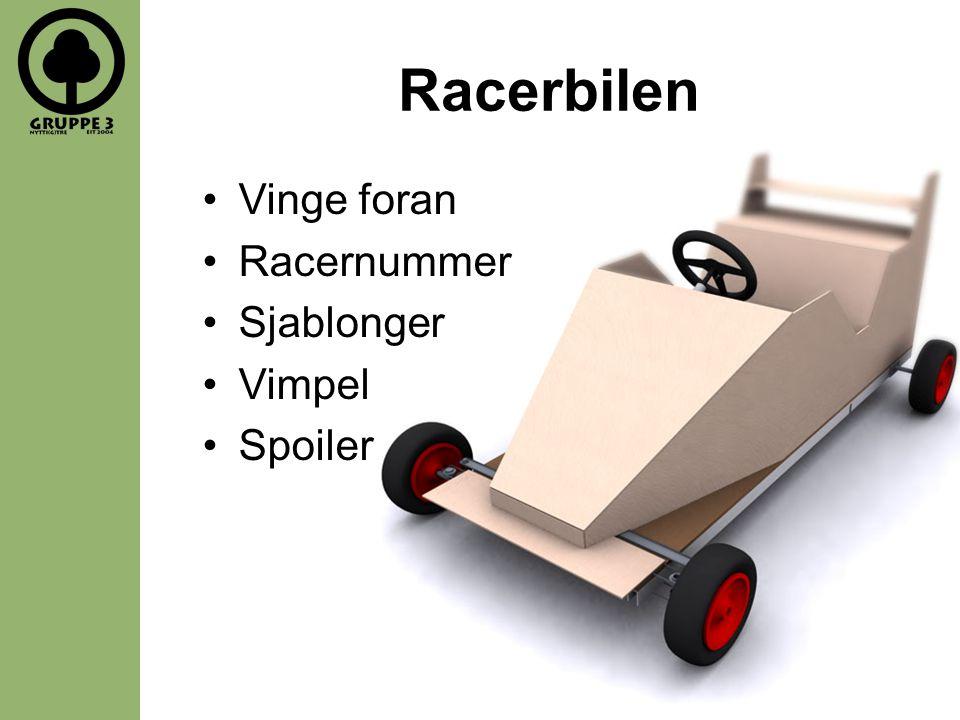 Racerbilen Vinge foran Racernummer Sjablonger Vimpel Spoiler