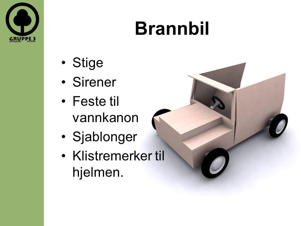 Brannbil Stige Sirener Feste til vannkanon Sjablonger