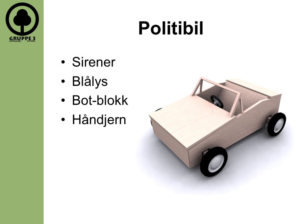 Politibil Sirener Blålys Bot-blokk Håndjern