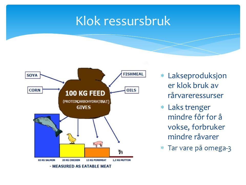 Klok ressursbruk Lakseproduksjon er klok bruk av rårvareressurser